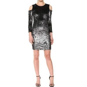 Armani Exchange Velvet Cold-Shoulder Sheath Dress